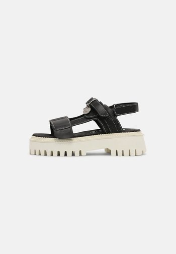 SQROOVY - Sandals - black/off white