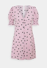 Glamorous - BUTTON FRONT MINI DRESSES WITH PUFF SLEEVES SMOCKED CUFFS - Skjortekjole - pink - 5