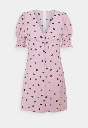 BUTTON FRONT MINI DRESSES WITH PUFF SLEEVES SMOCKED CUFFS - Abito a camicia - pink