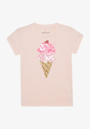 SEQUIN ICE CREAM CONE  - Triko spotiskem - pink melange