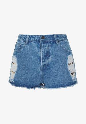 DISTRESSED LEOPARD  - Denim shorts - blue denim