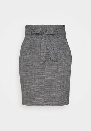 VMEVA PAPERBAG SHORT SKIRT - Mini skirt - black/houndstooth grey/white