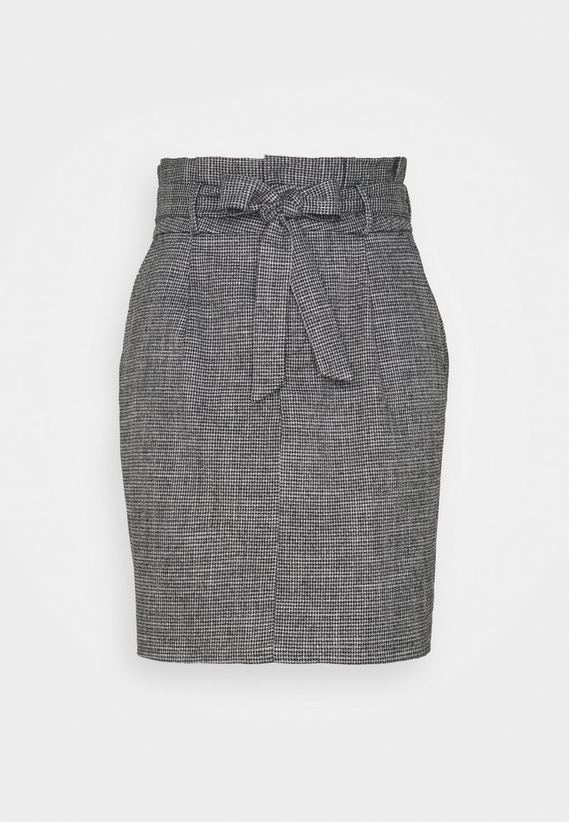 Vero Moda - VMEVA PAPERBAG SHORT SKIRT - Mini skirt - black/houndstooth grey/white