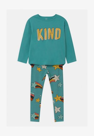 MINI KIND SET - Leggings - Trousers - dusty turqoise