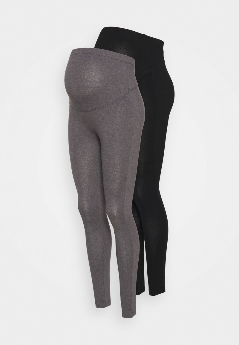 Anna Field MAMA - 2 PACK - Leggings - grey/black