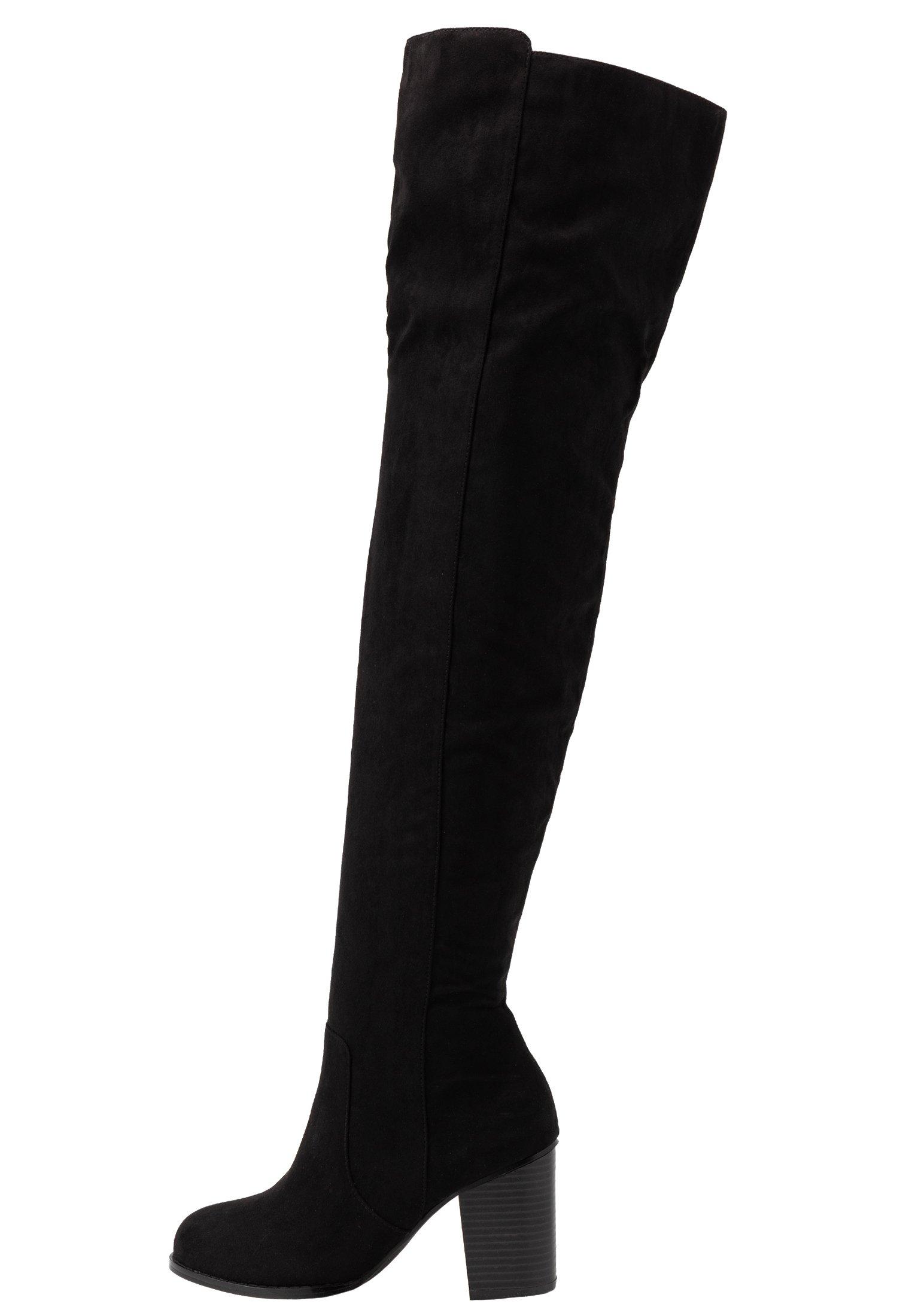 THIGH HIGH WOOD HEEL Overknee laarzen black