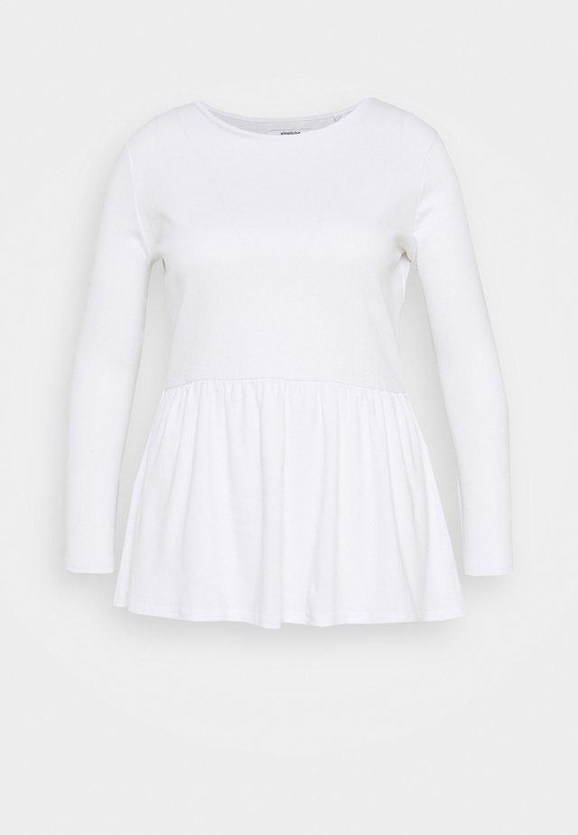 PEPLUM LONG SLEEVE - Långärmad tröja - white