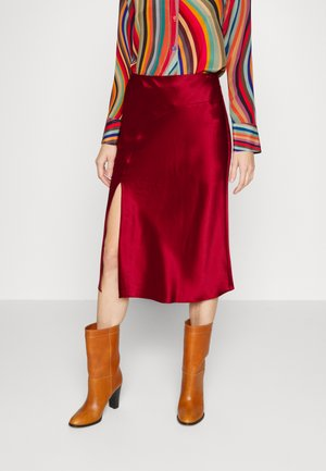 FION HAMMERED BIAS SKIRT - A-line skirt - wine