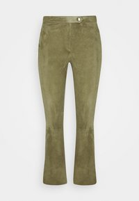 AIMEE - Leather trousers - mossgreen