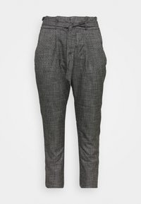 Vero Moda Curve - VMEVA LOOSE PAPERBAG AMY PANT - Trousers - black/grey/ white - 0