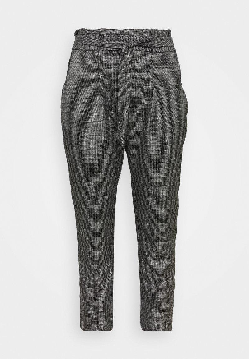 Vero Moda Curve - VMEVA LOOSE PAPERBAG AMY PANT - Trousers - black/grey/ white