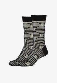 Fun Socks - 2ER-PACK OPTIC STRIPES - Socks - black mix - 0