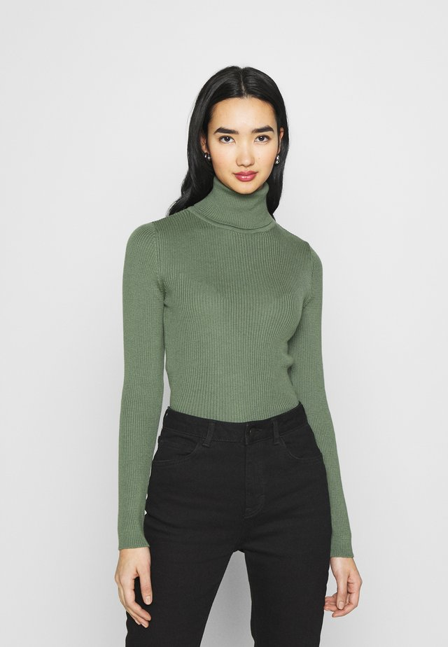 HIGH NECK - Strickpullover - khaki