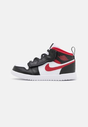 1 MID UNISEX - Basketbalové boty - white/gym red/black