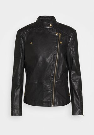 JACKET STUDS - Leather jacket - black