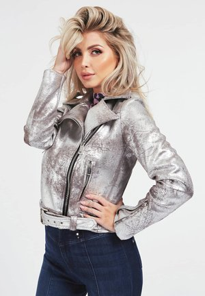 METALLIC - Faux leather jacket - mehrfarbig silber