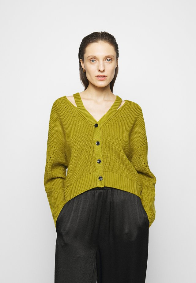 CARDIGAN BUTTON BACK - Kardigan - acid green