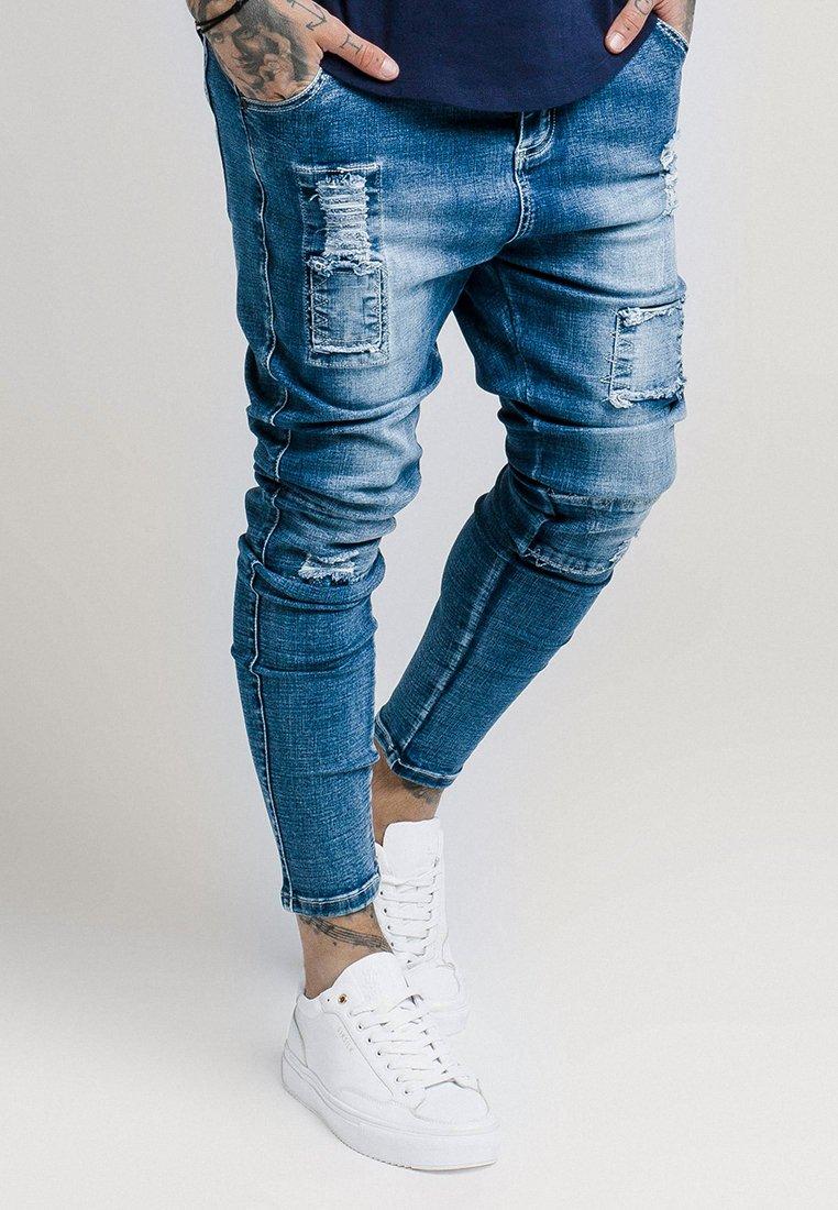 SIKSILK - PATCHWORK - Skinny-Farkut - washed blue