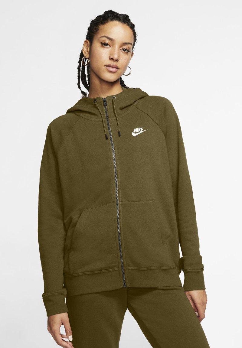 Nike Sportswear - HOODIE - Zip-up sweatshirt - olive flak/white