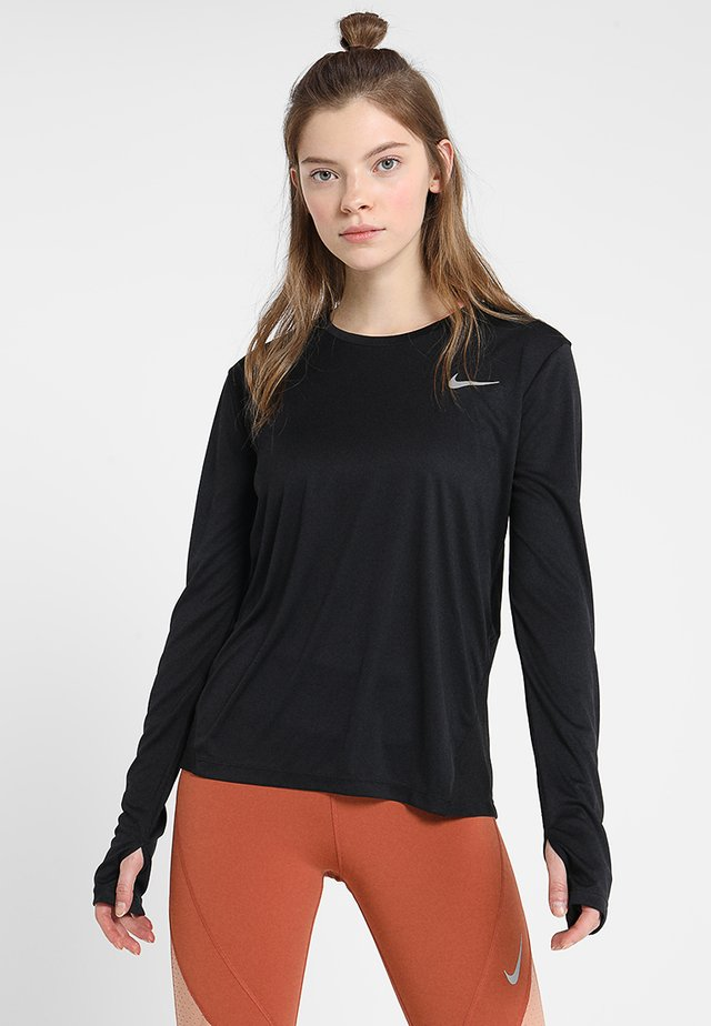 MILER - Sports shirt - black/reflective silver