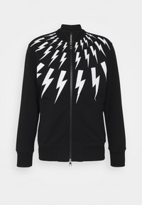Neil Barrett - FAIR-ISLE THUNDERBOLT - Zip-up hoodie - black/white - 0