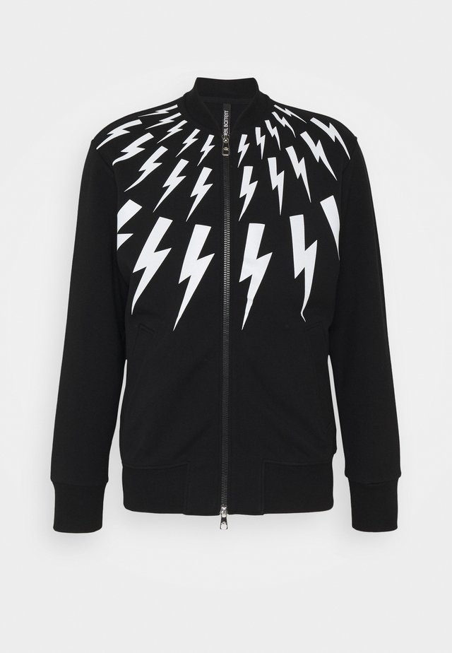 FAIR-ISLE THUNDERBOLT - Zip-up hoodie - black/white
