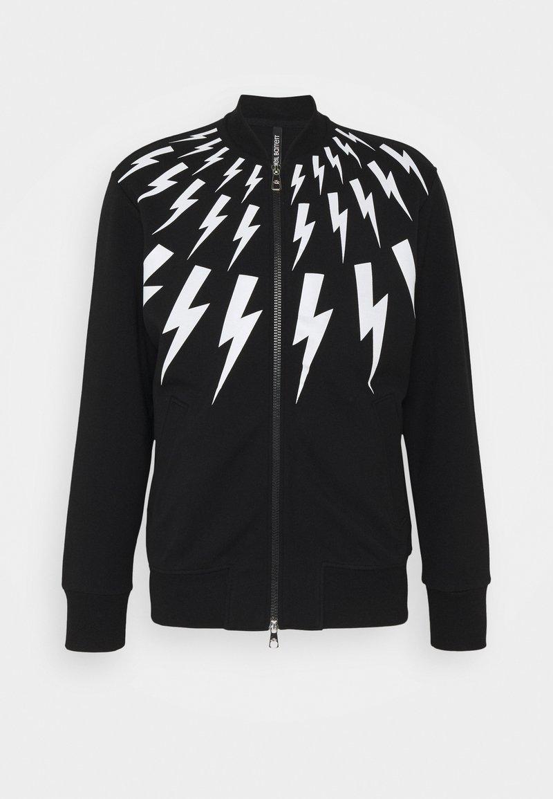 Neil Barrett - FAIR-ISLE THUNDERBOLT - Zip-up hoodie - black/white