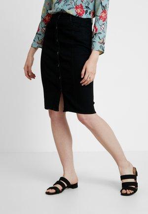 BUTTON THROUGH MIDI SKIRT - Pencil skirt - black