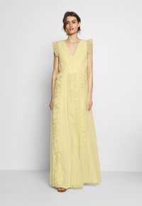 Anaya with love - V NECK FLUTTER SLEEVE DRESS WITH RUFFLE - Occasion wear - lemon - 0