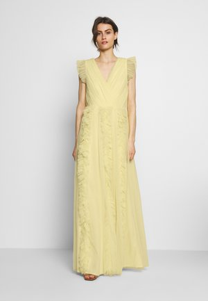 V NECK FLUTTER SLEEVE DRESS WITH RUFFLE - Gallakjole - lemon