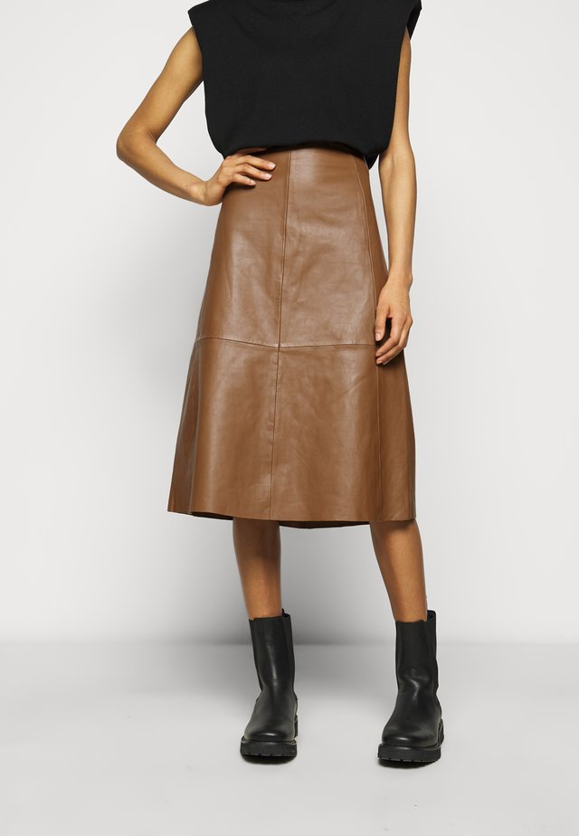 MARVIN - Leather skirt - classic camel