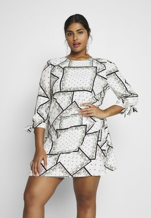 GEO TIE SLEEVE SHIFT DRESS - Sukienka letnia - cream