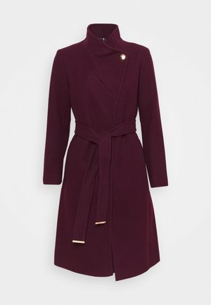 FUNNEL COLLAR BELTED COAT - Cappotto classico - oxblood