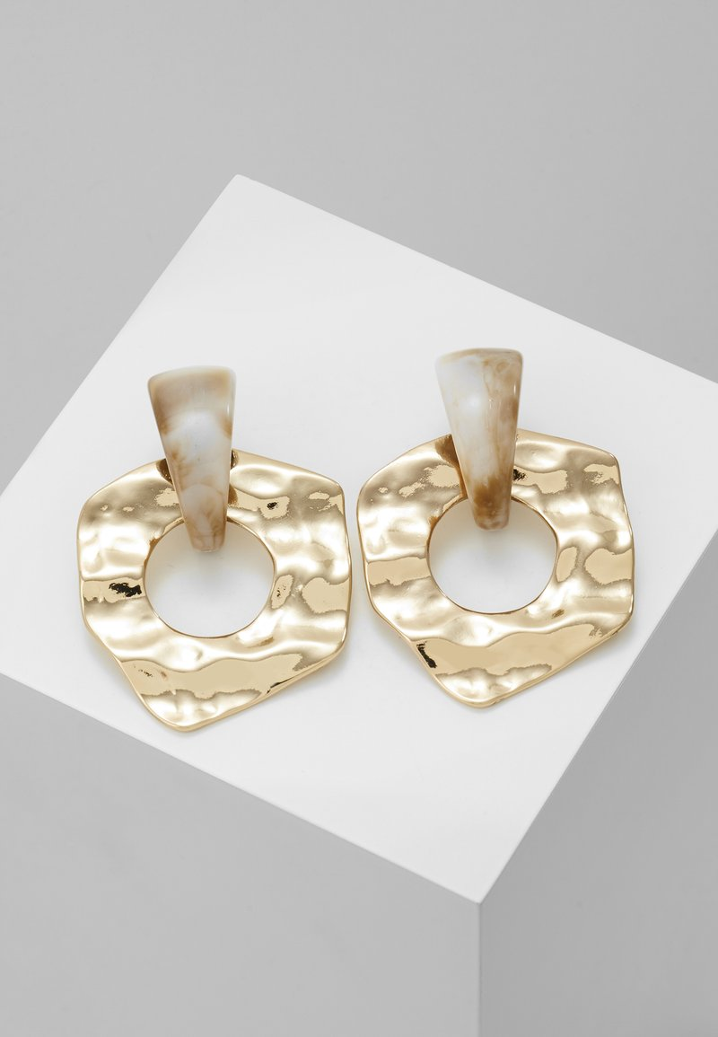 Topshop - HAMMERED CIRCLE DROPS - Oorbellen - gold-coloured