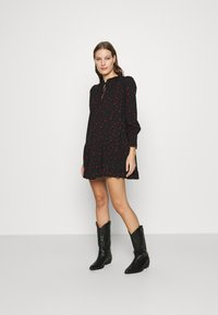 Dorothy Perkins - HEART PRINT SMOCK MINI DRESS - Day dress - black - 1
