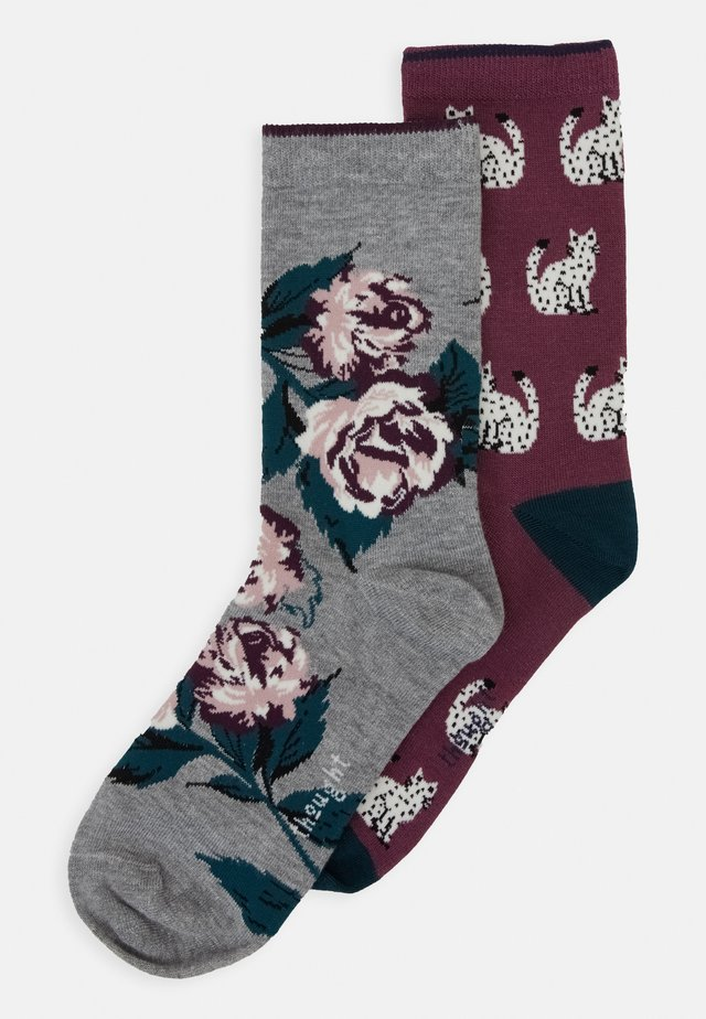 CYNTHIA 2 PACK - Chaussettes - mid grey marle/mauve