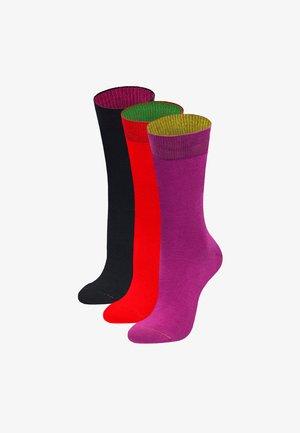 3 PACK UPTOWN - Socks - magenta, rot, schwarz