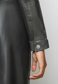 Diesel - LYLE JACKET - Leather jacket - black/grey - 4