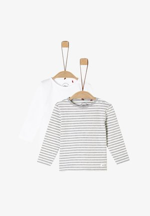 2 PACK  - Long sleeved top - white/grey stripes