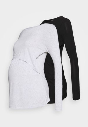 TWO IN ONE LONG SLEEVE 2 PACK - Top s dlouhým rukávem - black/silver marle