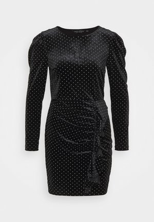 RUFFLE SPOT MINI VELVET DRESS - Vestido de tubo - black