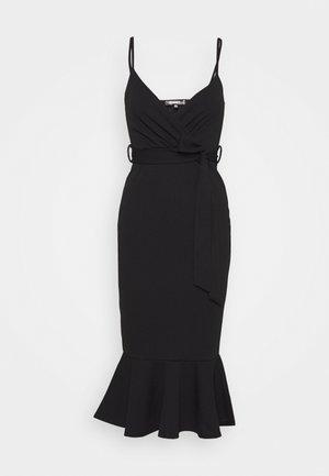 STRAPPY WRAP MIDI DRESS - Žerzejové šaty - black