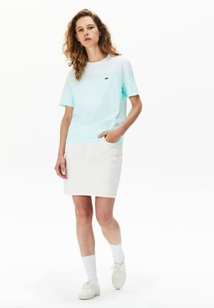 T-shirt med print - turquoise / vert clair / blanc