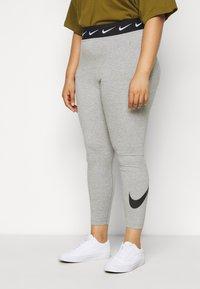 Nike Sportswear - CLUB PLUS - Leggings - dark grey heather/black - 0