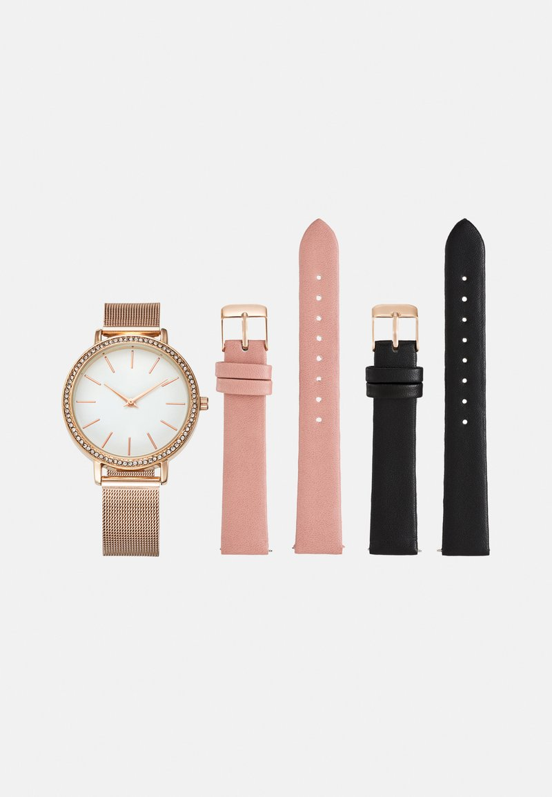 Anna Field - SET - Hodinky - pink/black/rose gold-coloured