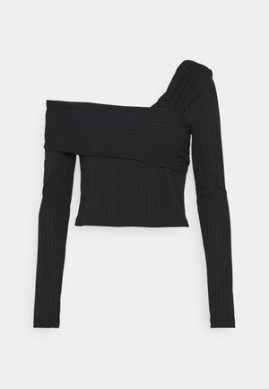 NA-KD X ZALANDO EXCLUSIVE OFFSHOULDER DETAIL - Long sleeved top - black