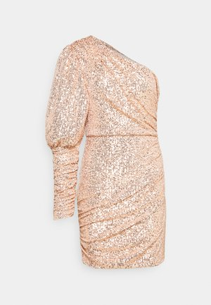 PREMIUM PARTY ONE SHOULDER ROSE GOLD RUCHED PUFF SLEEVE DRESS - Juhlamekko - rose gold