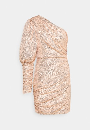 PREMIUM PARTY ONE SHOULDER ROSE GOLD RUCHED PUFF SLEEVE DRESS