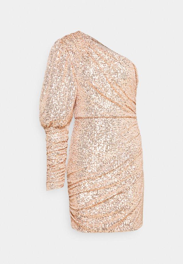 PREMIUM PARTY ONE SHOULDER ROSE GOLD RUCHED PUFF SLEEVE DRESS - Robe de soirée - rose gold