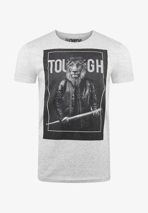 RIVLUKAS - Print T-shirt - hellgrau löwe (ijd)